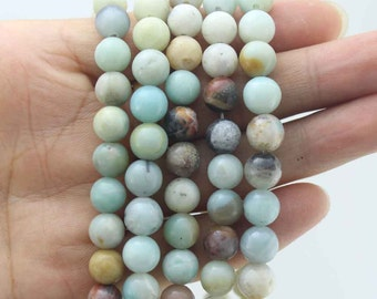 15%OFF Amazonite Beads Natural gemstone Round Beads ,multi color gemstones  One Full Strand,stone Beads,Gemstone Beads----15-16 inches--NC88