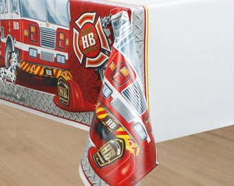 One 54 x 84 inch plastic Fireman Party Table Cover - Firefighter Theme - Fireman - Firefighter Birthday Party Tablecloth