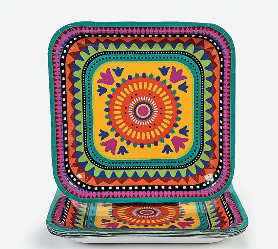 8 Ct Sturdy 9 Inch Square Colorful Fiesta Dinner Size
