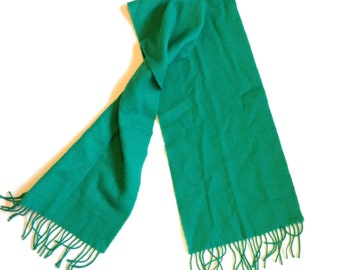 "Green Wool Fringed Scarf - Made in Japan - 56"" by 10"""