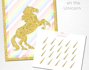 Pin the Horn on the Unicorn Birthday Party Printable Game YOU Print Pastel Pink Gold