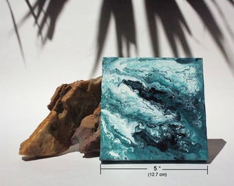 Small abstract painting | coastal inspired art | small fluid canvas | mini abstract painting | shelf art | friend gift | small wall art