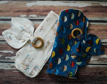 Contour Burp Cloth and Teether Sets