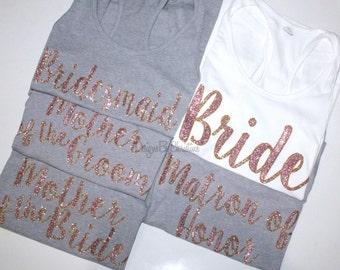 Bridal Party Tank Set. Bridal party set. Bridal Bridal Party tops. Bridal Party Tanks. Bridesmaid Tank. Bride Tank Top. Gold Tank. Wedding.
