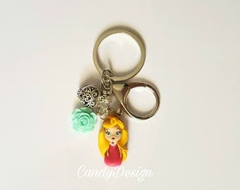 Aurora sleeping beauty keyring/bag charm . Aurora jewelry. Disney jewelry. Clay charm. Kawaii. Doll necklace..