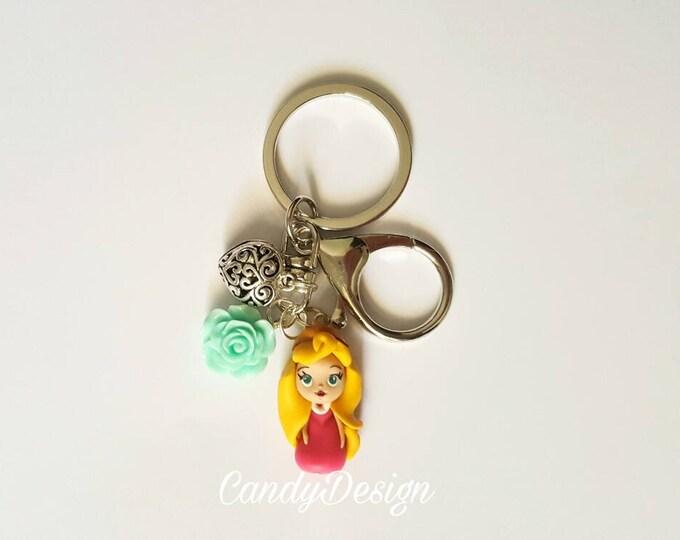 Aurora sleeping beauty keyring/bag charm . Aurora jewelry. Disney jewelry. Clay charm. Kawaii. Doll necklace..