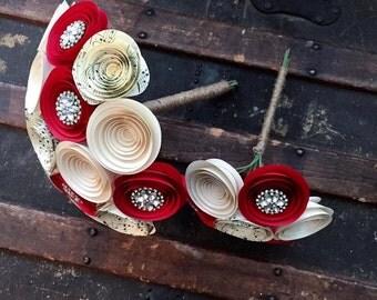 Paper Flower Bouquet -   Wedding Bouquet Alternative - Wedding Bouquet - Paper Flower Bouquet - Paper Flowers - Brooch Bouquet - Music Page