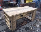 Industrial Style Reclaimed Wood Kitchen Island with Integrated Drawers and Shelving Units