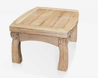 Handcrafted Solid Green Oak Carved Coffee Table