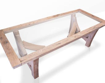 Handcrafted Solid Green Oak Dining Table