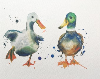 Mallard ducks watercolour PRINT -duck gift - Country Kitchen original painting - Puddle Paints art