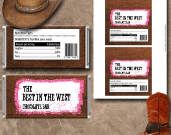 Cowgirl Candy Wrappers Instant Download Printable Chocolate Wrappers