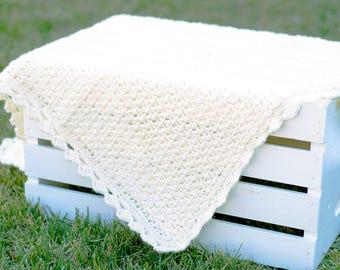 Crochet Baby Blanket | Mini Puff Stitch in Off White