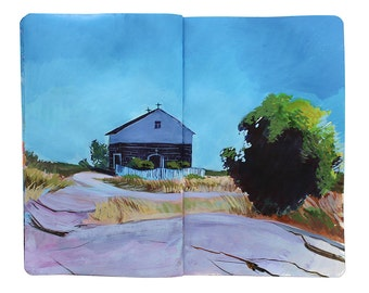 "Fine Art Print of Finnish Landscape Painting from Artist Travel Journal – ""Chapel on Uto Island, Finland"""