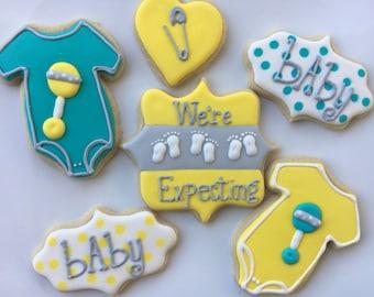"""Assorted """"We're Expecting"""" Baby Cookies; 1 Dozen"""