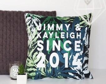 Personalised Couples Botanical Cushion - Personalised Cushion - House Warming Gift - Gift For Couples - Botanical Cushion
