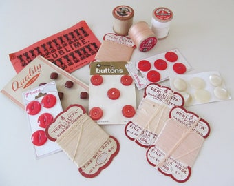 Gorgeous batch of vintage buttons, threads and notions~Pinks and reds~Charmingly nostalgic vintage haberdashery supplies