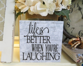 "Wood Sign, Life is Better When You're Laughing"", Motivational Sign, Office Decor, Inspirational Wood Sign, Desk Sign"