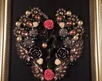 Framed Jewelry Art - Green and Pink Dragon Heart