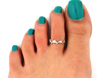Sterling silver toe ring dolphin toe ring adjustable toe ring Also knuckle ring (T41)