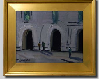 Plein Air Landscape Painting, Impressionist Oil Painting, Cityscape Painting, People Painting, Gray Painting, Building Painting