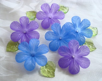 Promo! 20 Big Frosted Acrylic Flowers. Cornflower Blue and Lilac Purple Mix. 33x8mm Biggest Flower Beads. Lightweight & Lovely. ~USPS Rates