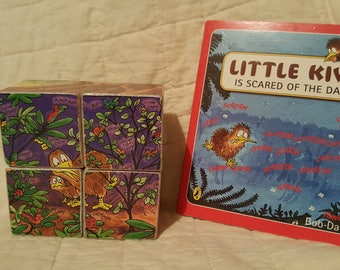 Hand-made Wooden Jigsaw Puzzle includes an up-cycled book - Little Kiwi Is Scared Of The Dark