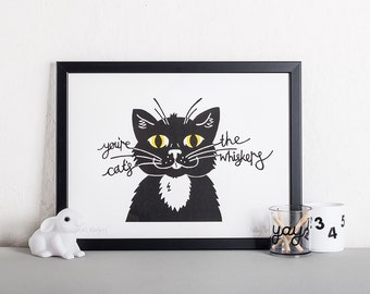 Black Cat Screen Print, Modern Wall Art, Monochrome Screen Print, Affordable art, Mad Cat lady gift, Housewarming present, Living room art,