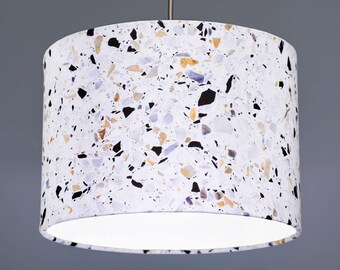 Terrazzo Marble Granite Concrete Effect Fabric Drum Lampshade Pendant