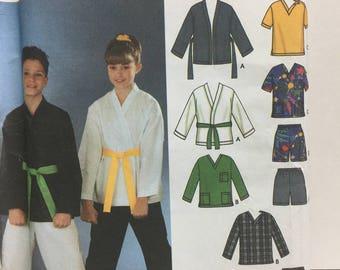 Simplicity 5879 Girls,Boys,Martial Arts Robe, Karate Robe,Karate Jacket, Pants, Shorts Sewing Pattern,Pull on Pants,Karate Clothes,Size 7-16