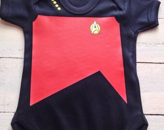 Star Trek Baby Uniform One Piece -Trekkie romper Nerd Baby star trek kids Geeky Nerdy Geek Baby Clothes  Nerd Baby Clothes