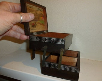 Vintage Japanese  Folding Wood Box With Colorful Scene inside From The 1950's