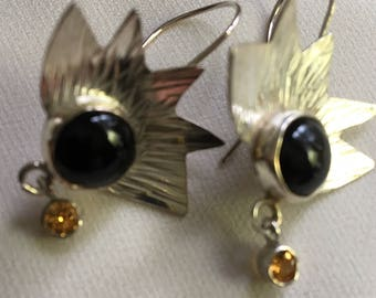 Sterling drop earrings with black onyx and yellow sapphires