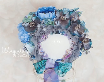 Flower bonnet for 12-24 months old baby.Blue, grey. Only one available. Photo prop.  Ready to send