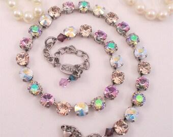 """Swarovski crystals/""""Summer Breeze""""/Cup chain necklace/Soft crystal necklace/Romantic crystal necklace/Purple necklace/Blue necklace"""