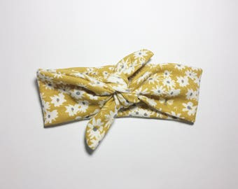 yellow daisy summer flower knot headband turban,bow,infant,baby,girl,toddler,adult,womens,photo prop,newborn take home outfit