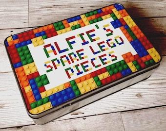 Lego Tin/Lego Storage/Building Block Storage/Personalised Tin/Storage Tin/Boys Birthday Present/Gift for Child/Lego Gift