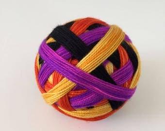 Ready to Ship: The Final Girls - Hand Dyed Self-Striping Sock Yarn - Purple, Golden Yellow, Orange, Black