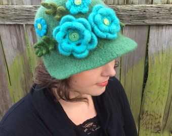 Green Wool Hat with Brim, Teal Flowers