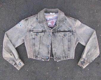 LA Gear Womens Black Stonewashed Denim Jacket Vintage 1980s Medium