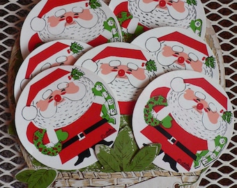 FREE SHIPPING!!! Vintage Stotter Set of Eight Santa Coasters with Cardboard Display