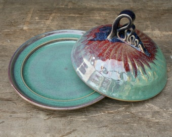 Hand thrown Covered Butter Dish in 'patina' - Would also nicely fit some cheese, say a round of brie...