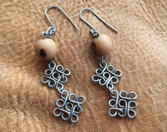 Vintage Earrings - Artisan - Silver Wire work and Natural Seeds