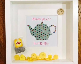 Mother gift - Tea Lover - Tea Pot - Buttons - Personalised - Sparkle Box Frame