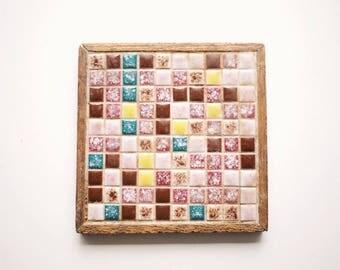 Mosaic Tile Trivet | Mid-Century | Wood | Modern Art | Vintage