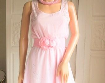 Baby pink mini dress Pale pink chiffon dress Pastel pink mini dress Festival Beach Party dress Baby doll dress Lace mini Pink chiffon mini S