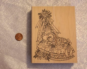 Baby Bassinet rubber Stamp by Angel's Attic Wood Stamp for Scrapbooking or Card Making Baby Shower