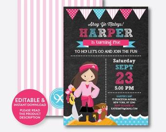 Instant Download, Editable Pirate Birthday Invitation, Pirate Invitation, Pirate Party Invitation, Pirate Girl Invitation,Chalkboard(CKB.43)