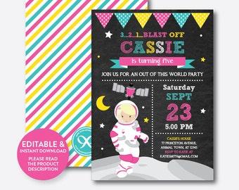 Instant Download, Editable Astronaut Birthday Invitation, Astronaut Invitation, Space Invitation, Outer Space, Girl, Chalkboard (CKB.67D)