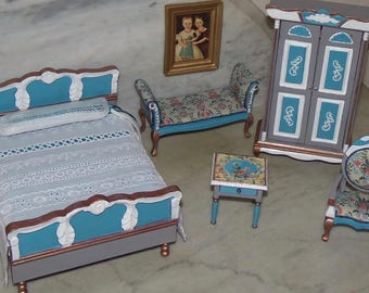 Complete Bedroom Set for 1:12th Dollhouse.  Painted. Decoupaged.  Blue Gray White.  Dressed Bed, Armoire, Settee, Chair, Table, Framed Art.